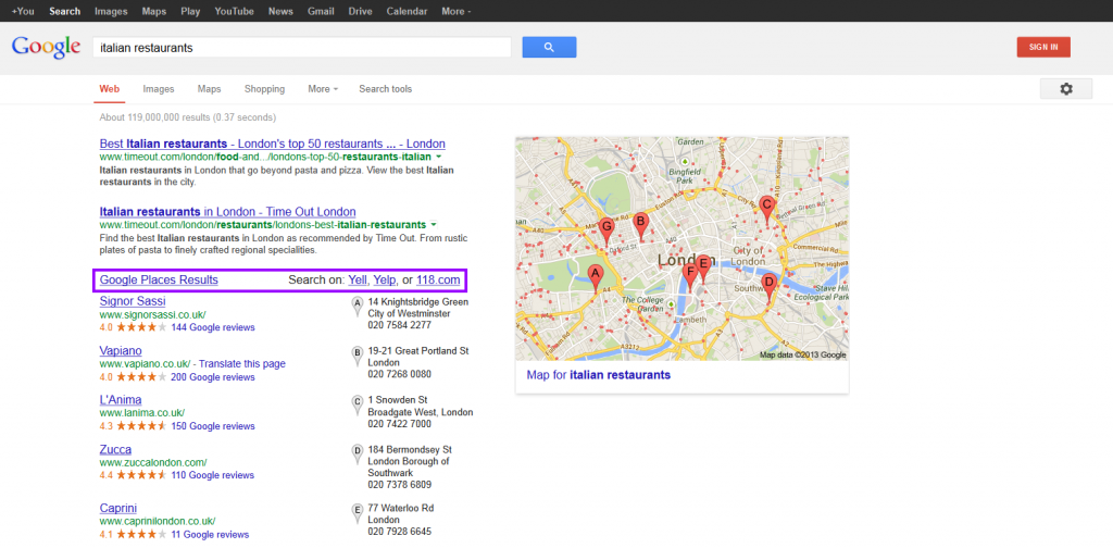 italian restaurants - Google Search