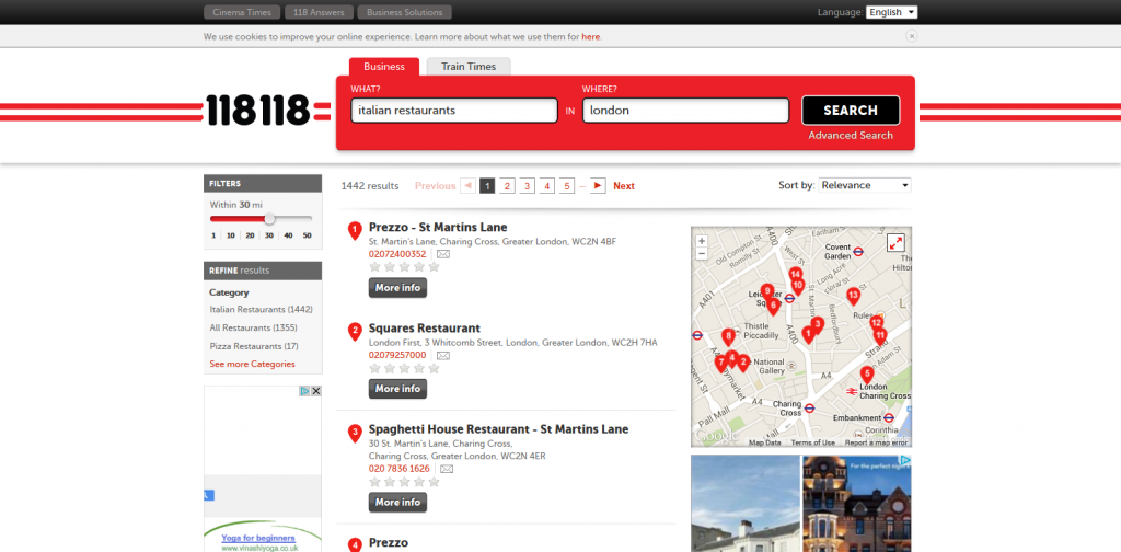 118.com - Search results for italian restaurants in london