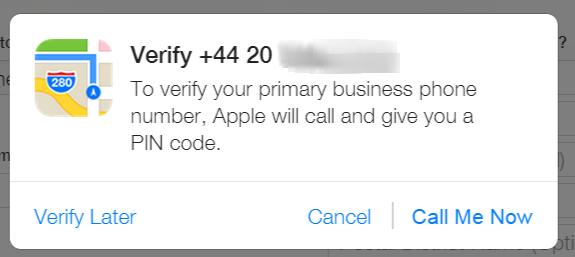 Phone verification on Apple Maps Connect