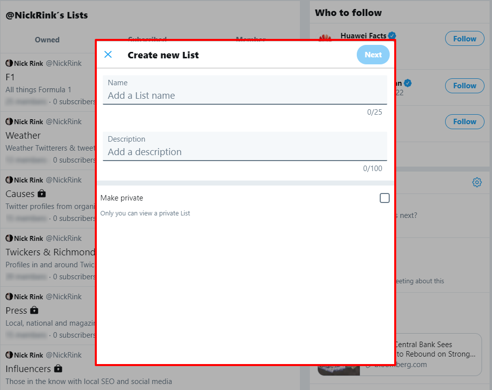 how to create a twitter list step 3